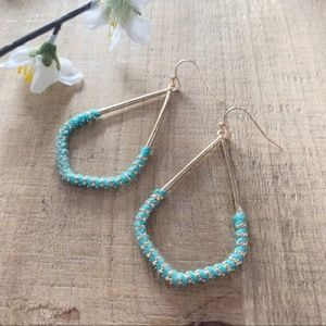 Jewelry - Mint Thread Wrapped Marquee Earrings